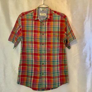 Orvis Mens Plaid Button Down Shirt Size Medium